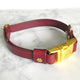 Wine Red - Henbury Leather Dog Collar (Gold) - Avaloncraftsg
