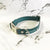 Teal - Henbury Leather Dog Collar (Silver) - Avaloncraftsg
