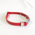 Floral Red - Henbury Leather Dog Collar (Silver) - Avaloncraftsg