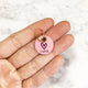Petal Pink - Hot Pink Heart - 2cm Round Pet Tag