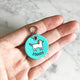 Turquoise Blue - Scandi Dog - 3cm Round Pet Tag - Avaloncraftsg