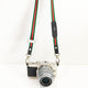Stripe Camera Strap - Red, White, Green (Black Ends)
