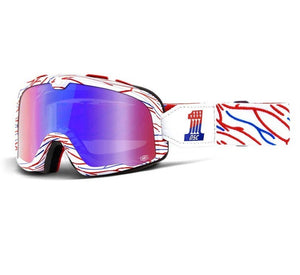 "100% BARSTOW vintage motocross goggles - ""Death Spray Custom Red & Blue"""