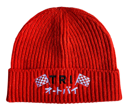 TRI RACING BEANIE - FIRE RED