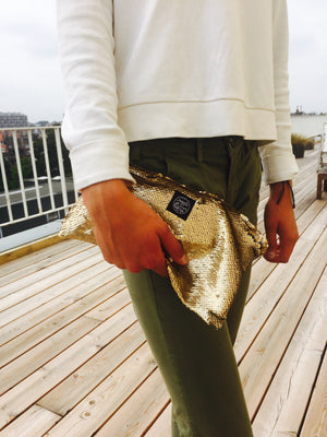 Champagne Sequins Clutch Bag