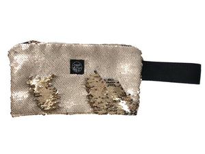 Beige Gold Clutch Bag