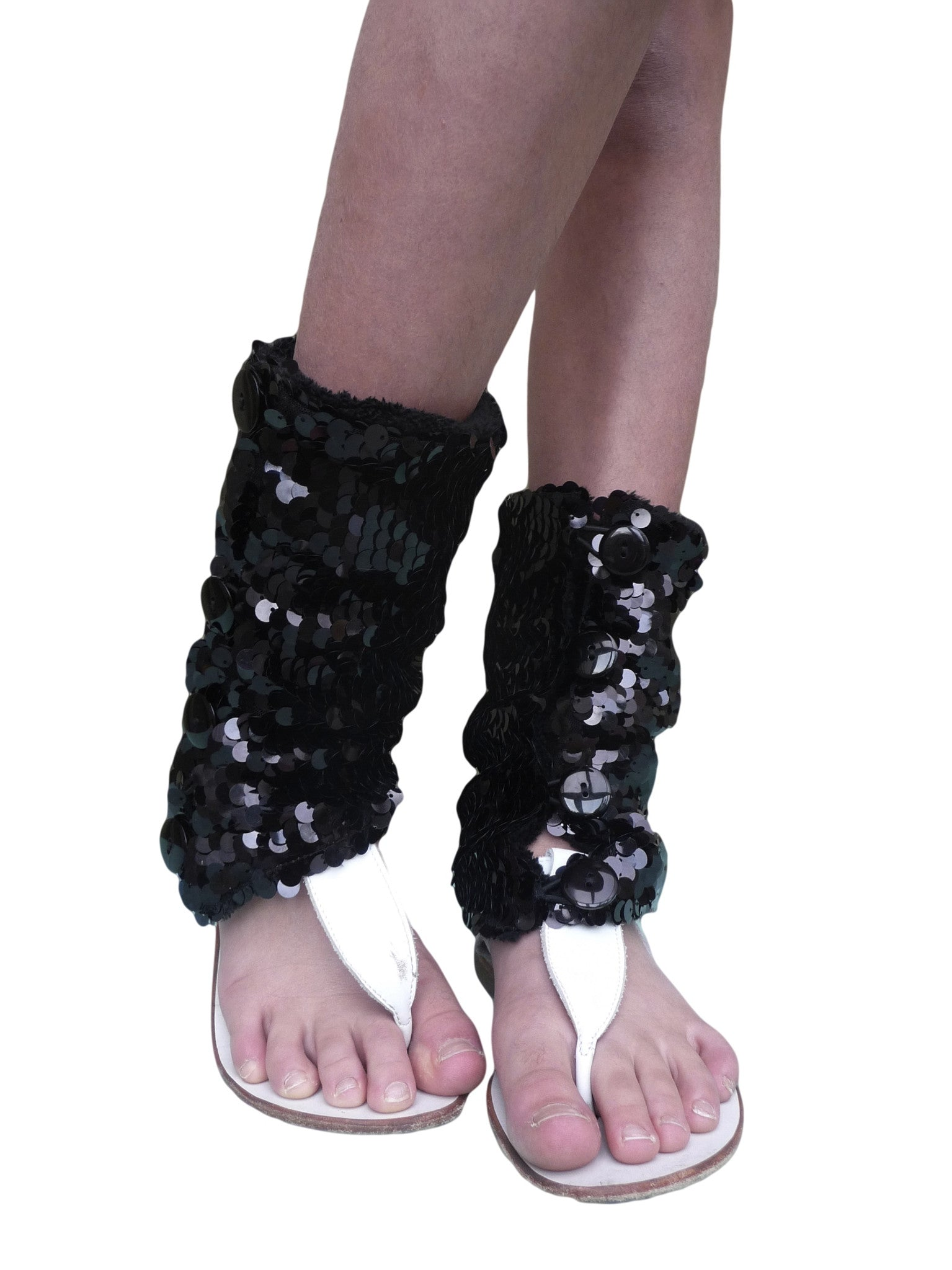 Black Sequins Summer Leg Warmers