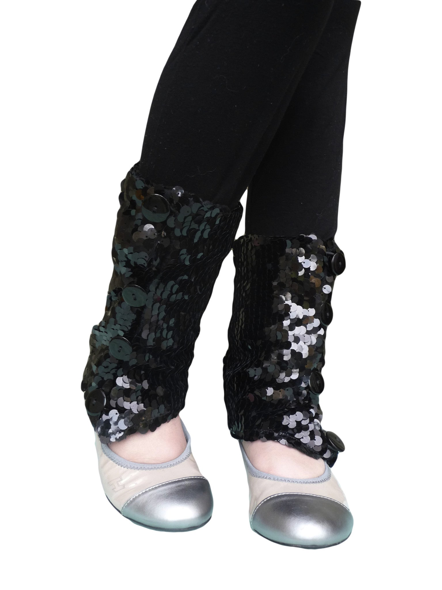 Black Sequins Leg Warmers