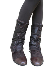 Brown Leather Leg Warmers