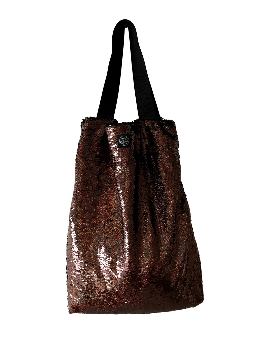 Brown sequins Square Bag