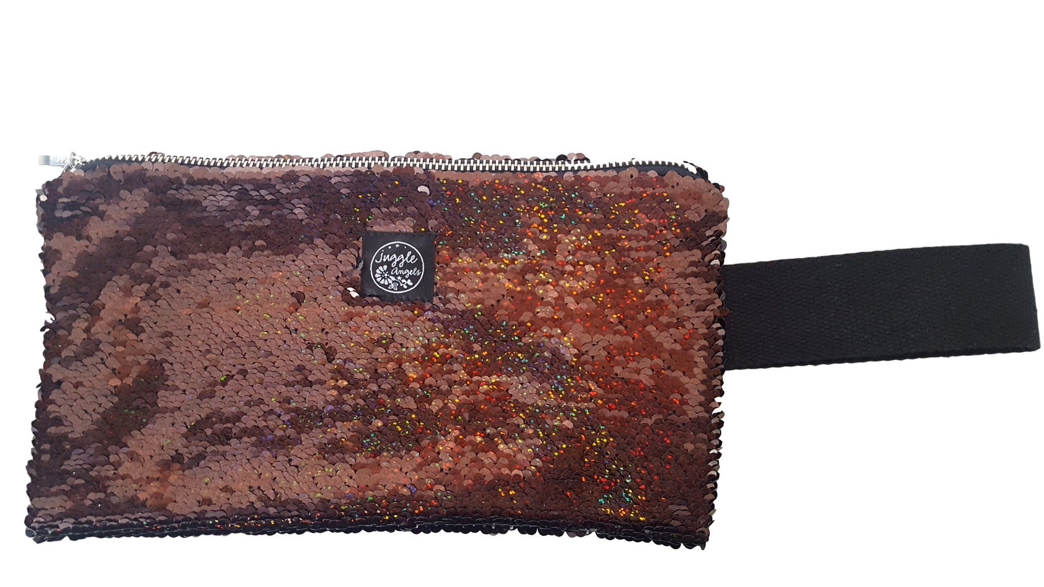 Brown Sequins Clutch Bag