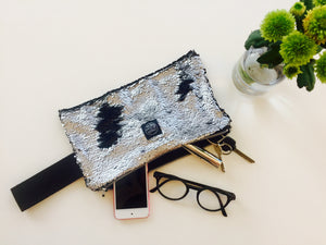 Silver Sequins Clutch Bag