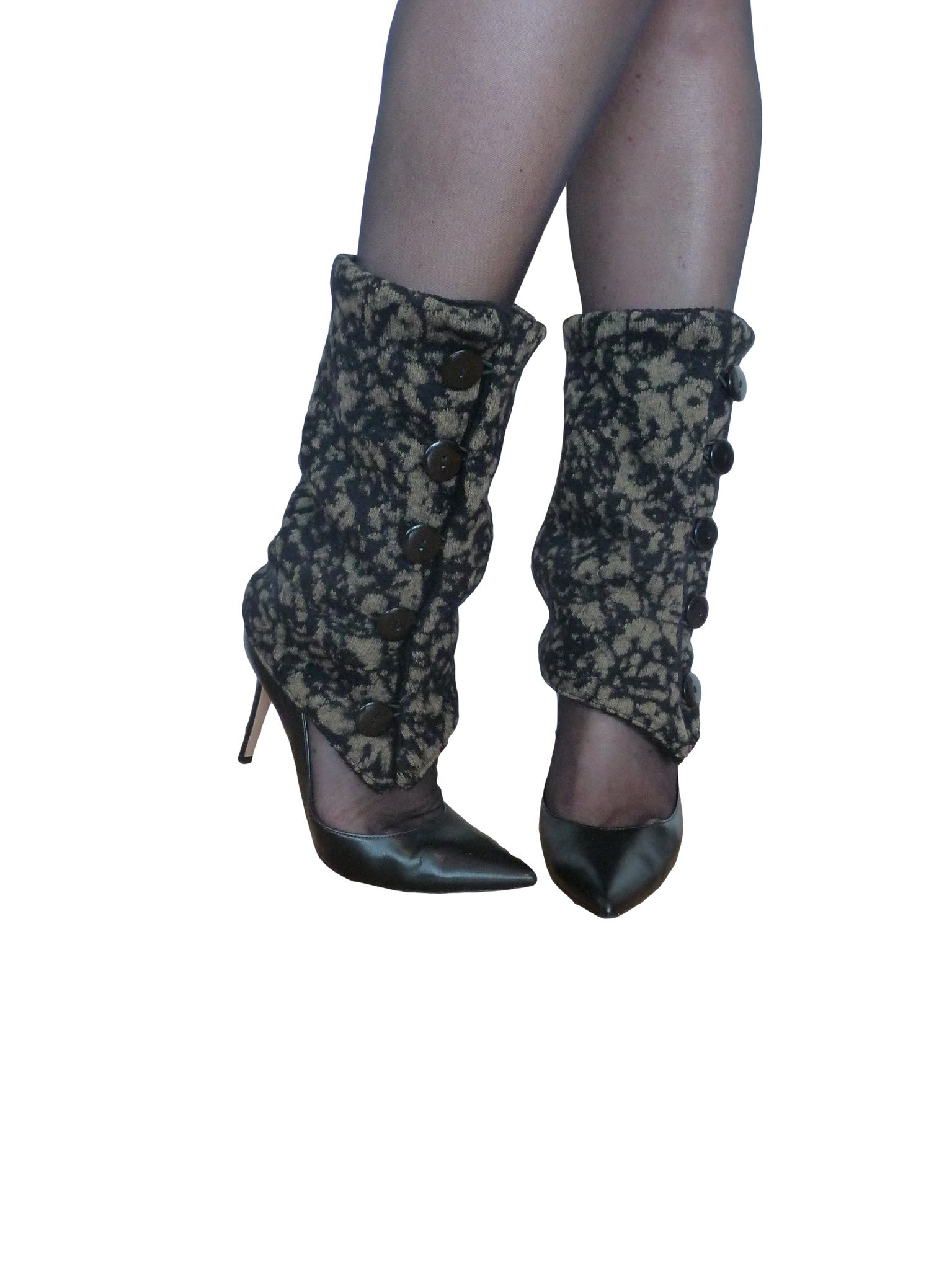 Khaki Flowers Leg Warmers