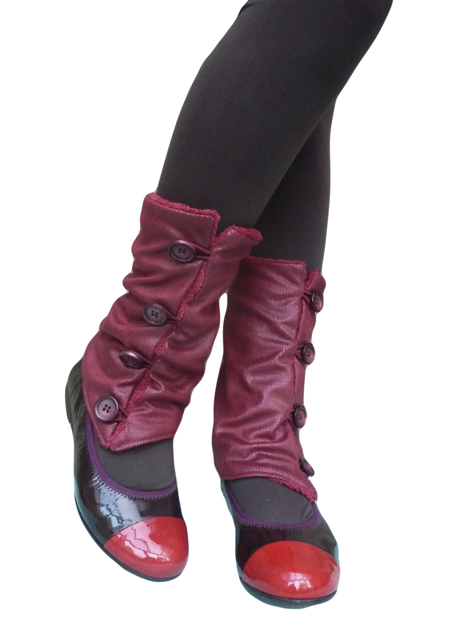 Red Leather Leg Warmers