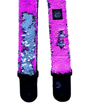 Pink Fluo Silver Guitar Strap
