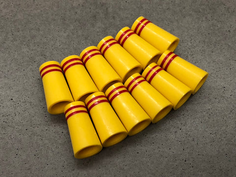 Flat-Top 12 Ferrules Yellow with Double Red Stripes