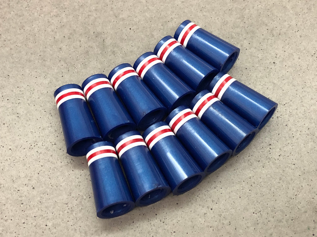 Flat-Top 12 Ferrules Metallic Royal Blue with White-Red-White Stripes