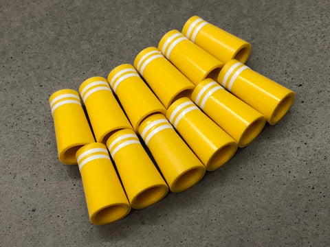 Flat-Top 12 Ferrules Yellow with Double White Stripes
