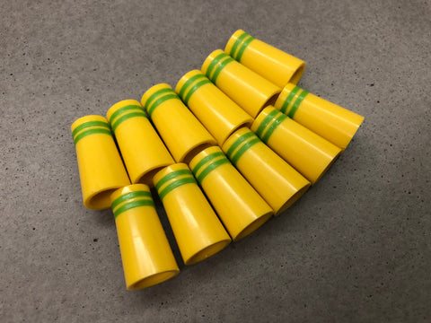Flat-Top 12 Ferrules Yellow with Double Lime Green Stripes