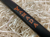 Yamada Putter Grip Leather Standard Size in Black with Orange Letters - torque golf