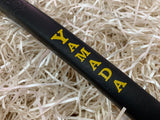 Yamada Putter Grip Leather Standard Size in Black with Yellow Letters - torque golf