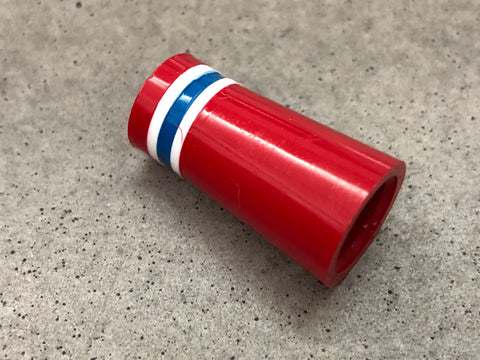Flat-Top 12 Ferrules Red with White-Blue-White Stripes - torque golf