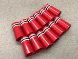 Flat-Top 12 Ferrules Red with White-Black-White Stripes - torque golf