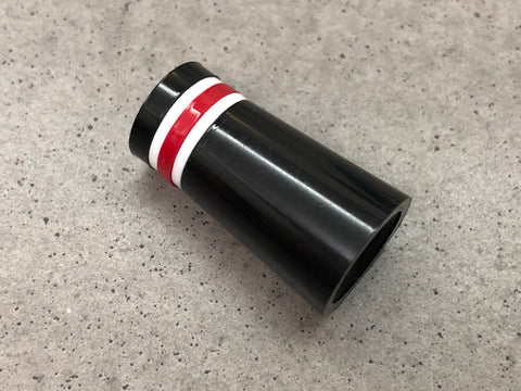 Flat-Top 12 Ferrules Black with White-Red-White Stripes - torque golf