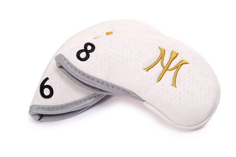 Miura Golf Headcover Iron Honeycomb Magnetic White
