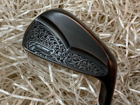 Fujimoto Golf Iron Handcrafted Signature Iura Wing Back in Black Copper