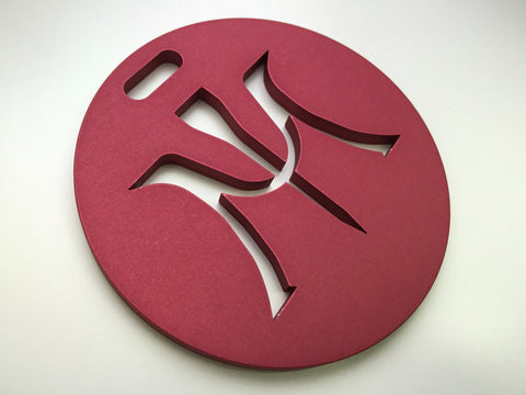 Miura Golf Bag Tag Cut Thru Logo Aluminum in Red - torque golf