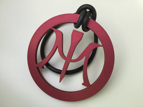 Miura Golf Bag Tag Full Logo Aluminum in Red - torque golf