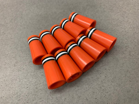 Flat-Top 12 Ferrules Orange with Black and White Stripes