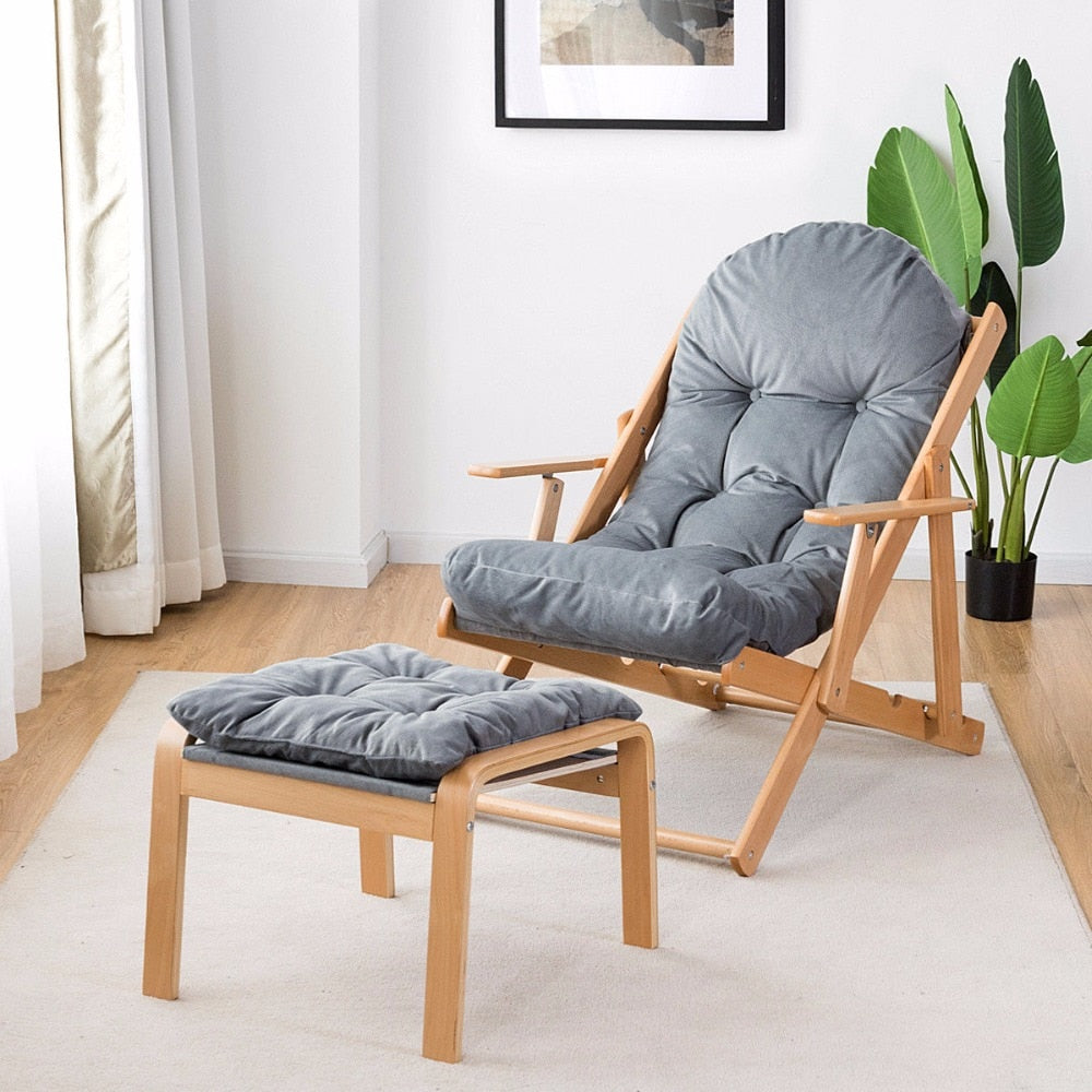 Folding Recliner Adjustable Lounge Chair w/ Ottoman
