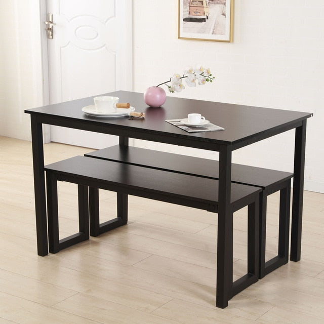 Modern Dining Table with 2 Benches