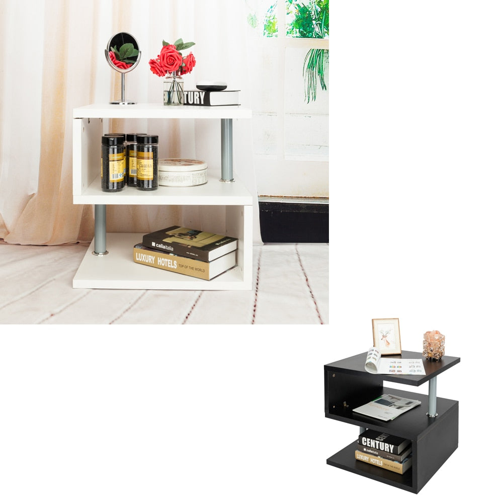 Modern Contemporary Multilevel S-Shaped End Table