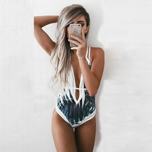 One Piece Tropical Pattern Swimsuit