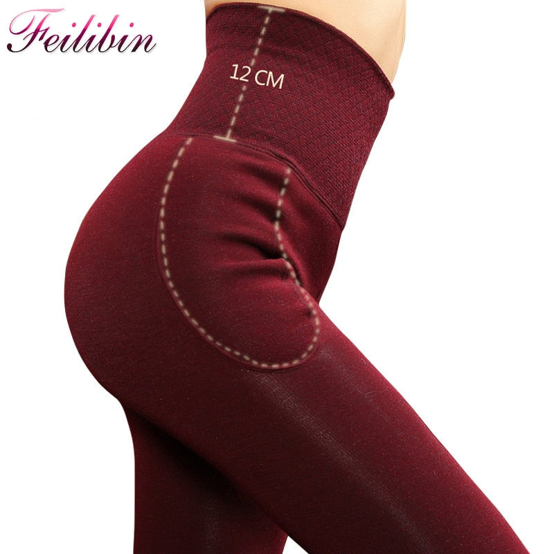 Velvet Lined High Waist Winter Leggings