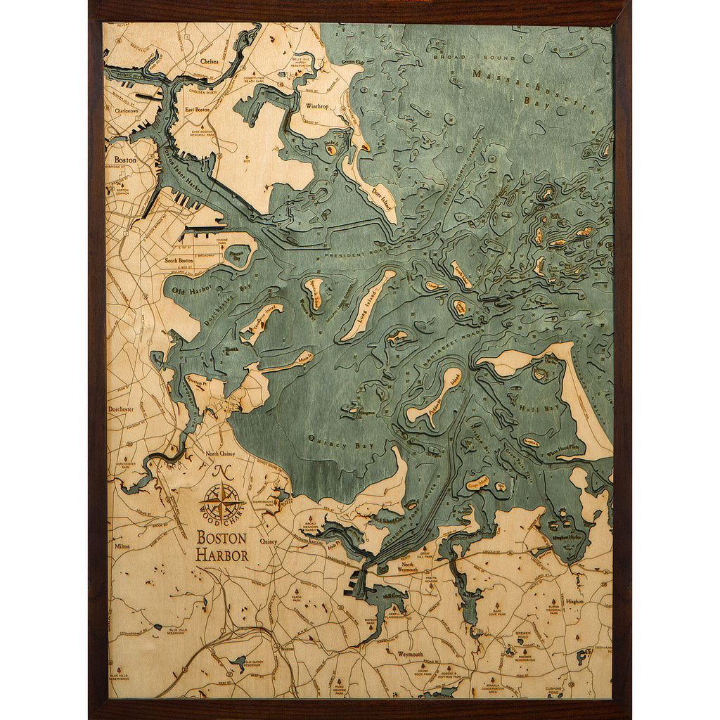 Boston Harbor Bathymetric Wood Chart on boston city road map, new york road map, port of boston map,