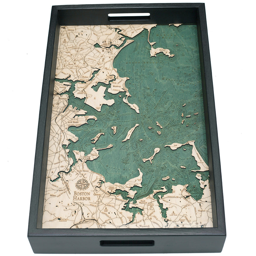 Boston Harbor Serving Tray Wood Chart
