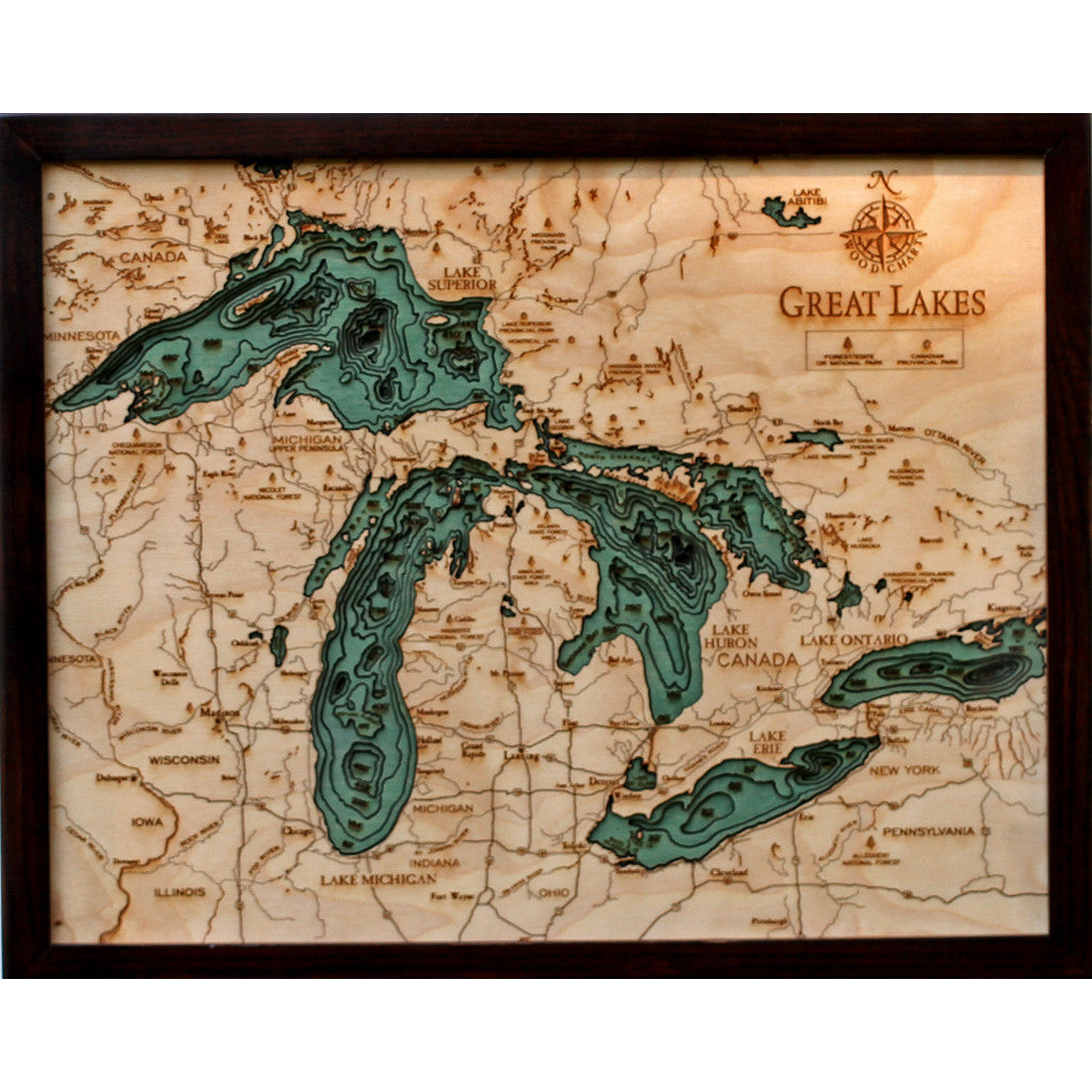 Great Lakes - 20x16 Wood Chart