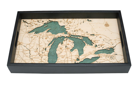 Great Lakes Serving Tray Wood Chart