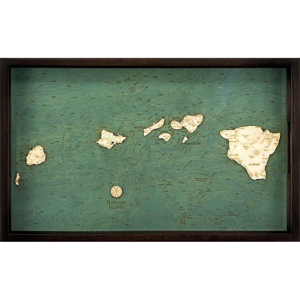 Hawaiian Islands Serving Tray Wood Chart