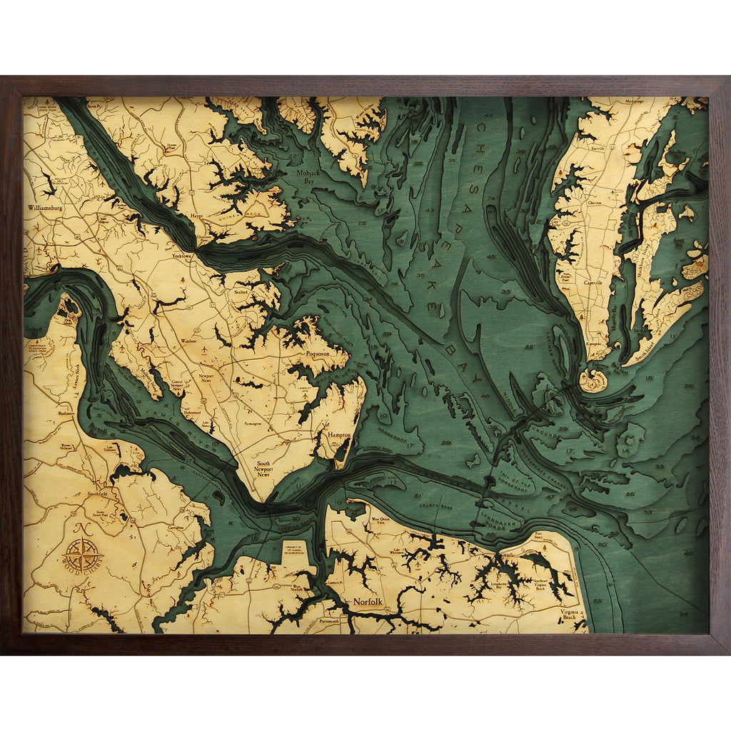 Chesapeake Bay Topographic Map.Below The Boat Chesapeake Bay