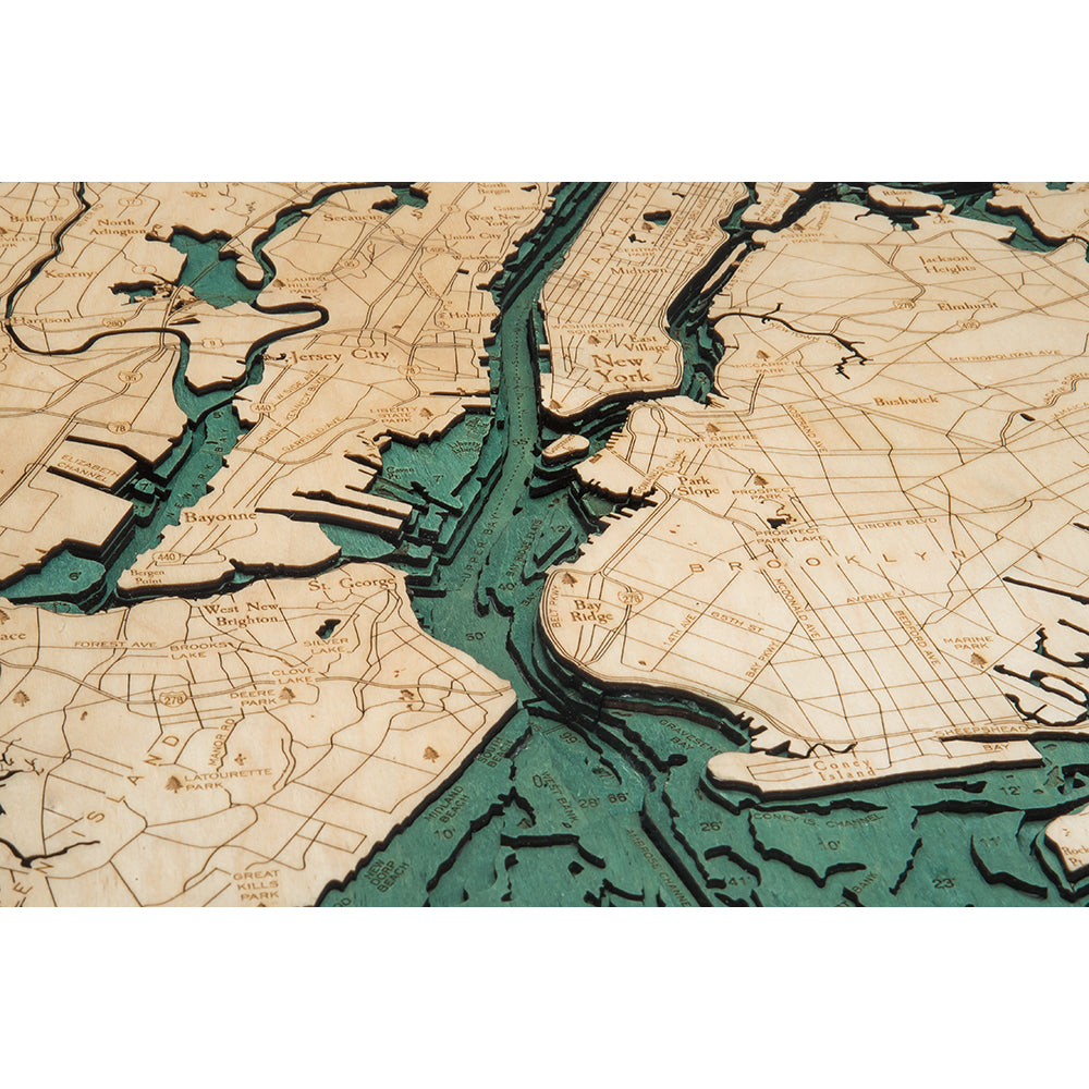 5 Boroughs of New York Wood Chart
