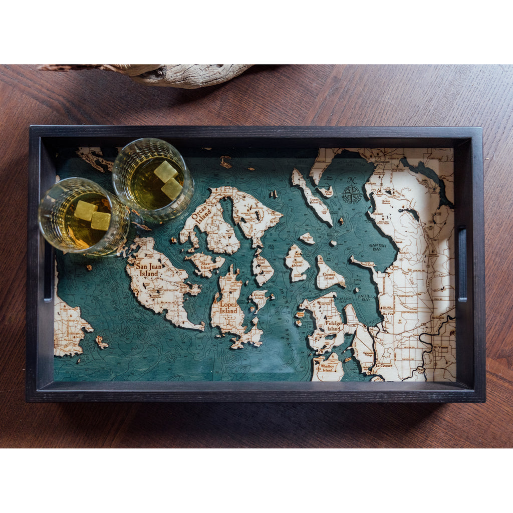 San Juan Islands Serving Tray Wood Chart