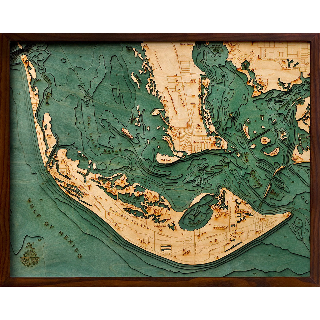 Sanibel Island Wood Chart