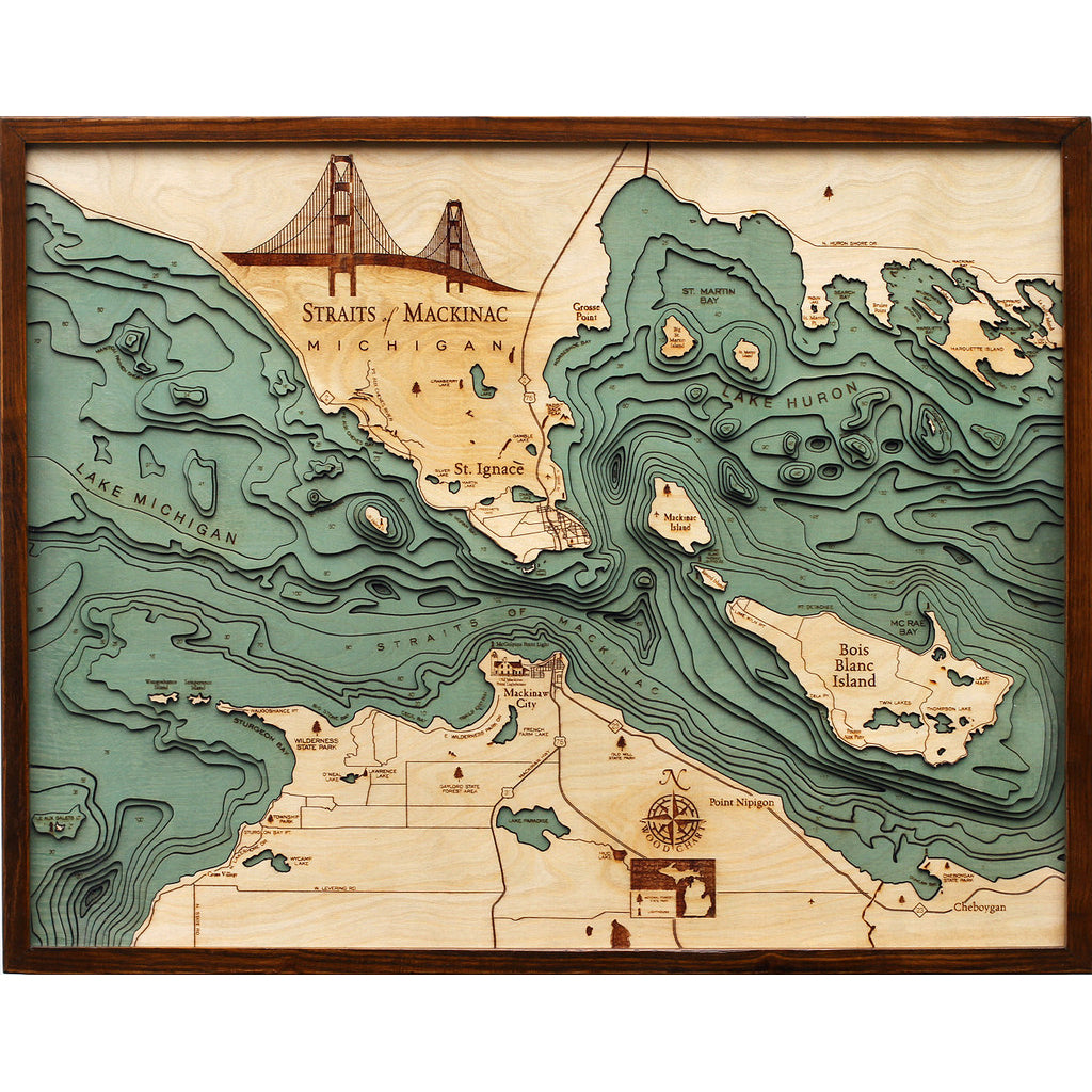 Straits of Mackinac Wood Chart