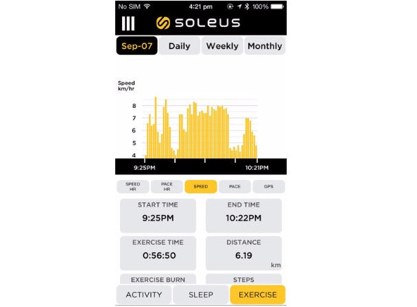 Soleus Thrive app: Exercise screen