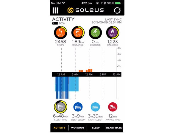 Soleus thrive app: activity screen